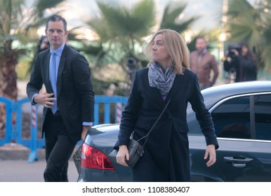 Palma de Mallorca, Spain / March 2, 2016: Spain Royal Infanta Cristina and husband Inaki Urdangarin arrives to Palma de mallorca court after testifying accused on case Noos for fraud and embezzlement.