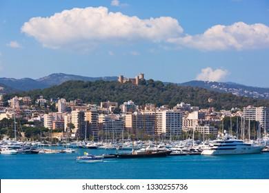 Palma de Mallorca, Spain - March 5, 2018: View of the skyline of Palma de Mallorca, Spain.