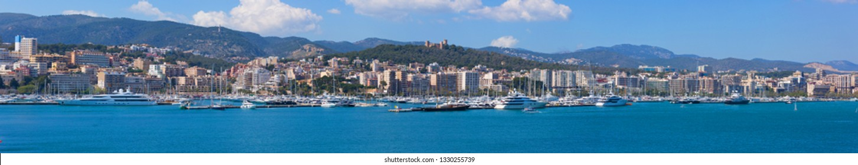 Palma de Mallorca, Spain - March 5, 2018: Panoramic view of the skyline of Palma de Mallorca, Spain.