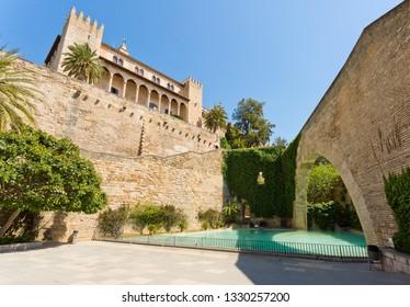 Palma de Mallorca, Spain - March 5, 2019: La Seu, the gothic medieval cathedral of Palma de Mallorca, Spain.