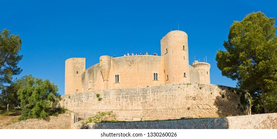 Palma de Mallorca, Spain - March 5, 2019: Bellver Castle is a Gothic-style castle on a hill 3 km to the west of the center of Palma on the Island of Majorca, Balearic Islands, Spain.