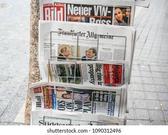 PALMA DE MALLORCA, SPAIN - MAY 8, 2018: Newspaper press kiosk stand in central Palma de Mallorca with international press featuring worldwide news Frankfurter Algemeine, Majorca Daily Bulletin, Bild,