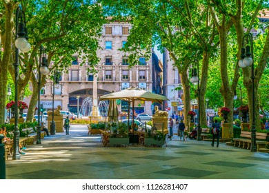 PALMA DE MALLORCA, SPAIN, MAY 18, 2017: People are strolling through Passeig del Born in the historical center of Palma de Mallorca, Spain