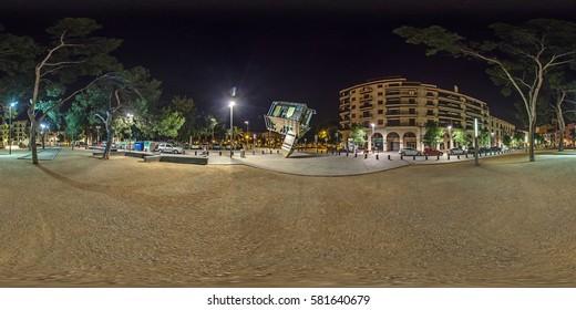 PALMA DE MALLORCA, SPAIN - May 2014: Full 360 equirectangular spherical panorama view of night street of  PALMA DE MALLORCA. Virtual reality content