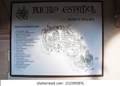 PALMA DE MALLORCA, SPAIN - NOVEMBER 11, 2011: Pueblo Espanol historic architecture details on November 11, 2011 in Palma de Mallorca, Spain