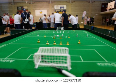 Palma de Mallorca / Spain - October 27, 2018: Subbuteo world championship tournament in the island of Mallorca, also known as table soccer is a table game simulating soccer with own rules and ranking