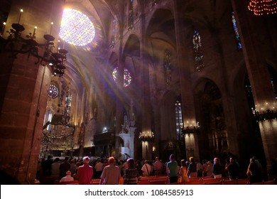 Palma de Mallorca, Spain - September 17, 2016: Priests and monks enter Palma Cathedral to start a sunday mass in the Spanish Balearic island.