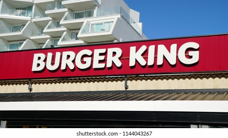 Palma de Mallorca, Spain - September 19, 2017.  Sign of a Burger King fast food restaurant. Burger King is an American global chain of hamburger fast food restaurants