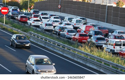 Palma de Mallorca, Spain / September 25, 2018: Heavy traffic on the main Palma city motorway, the massive arrival of tourists to the island brings traffic jams and lack of residentials to the island