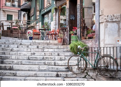 PALMA DE MALLORCA,SPAIN-JANUARY 13,2016:Old street stone stairs in historic center of  Palma de Mallorca,Balearic Islands.