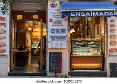 PALMA DE MALLORCA,SPAIN-JANUARY 13,2016:Typical bakery with traditional pastry ensaimada in Palma de Mallorca,Balearic Islands.