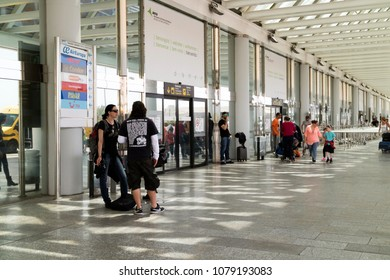 Palma International Airport, Mallorca, Spain. April 2018Departures check in  terminal exterior on an upper floor