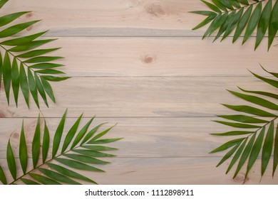 Palma leafs on light wood background with copy space