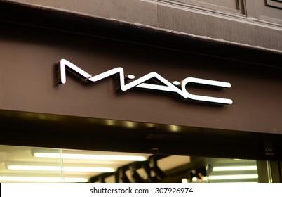 "PALMA, MALLORCA - JULY 29, 2015: The logo of the brand ""Mac"" in Palma de Mallorca."