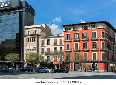 PALMA, SPAIN - APRIL 12, 2019: Urban view of the central street of Palma (aka Palma de Mallorca) - resort city and capital of the Spanish island of Mallorca in the western Mediterranean.