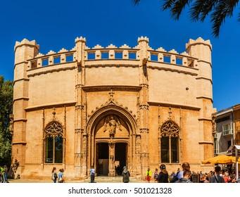 PALMA, SPAIN - APRIL 24 2016: Lonja de Mallorca. Palma is capital and largest city on island Mallorca of autonomous community of Balearic Islands in Spain.