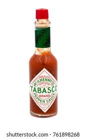 PALMA, SPAIN - NOVEMBER 24, 2017: Bottle of Tabasco hot pepper sauce isolated on white background