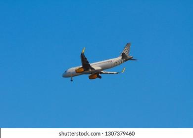 Palma-de-Mallorca, Spain - Oct 02, 2018: Plane of Vueling Airlines company when landing
