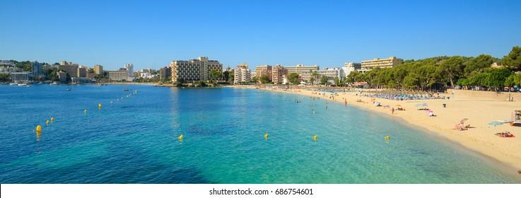 Palmanova beach near Palma de Majorca in Spain