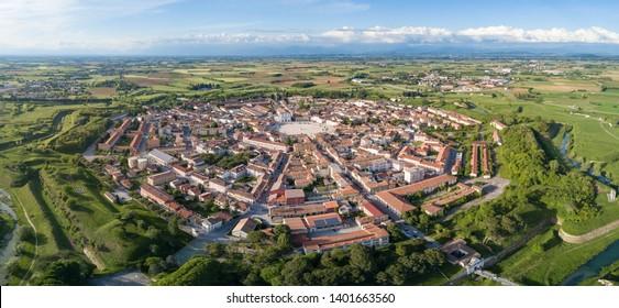 Palmanova city panoramic aerial view with Aquileia door. Friuli Venezia Giulia, Italy.