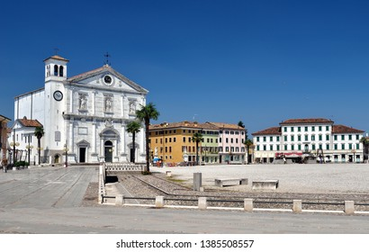 PALMANOVA ITALY ON SUMMER: Palmanova, with its nine-pointed star structure, was conceived as an inexpugnable defensive system Italy, Udine Friuli-Venezia-Giulia region. The cathedral.