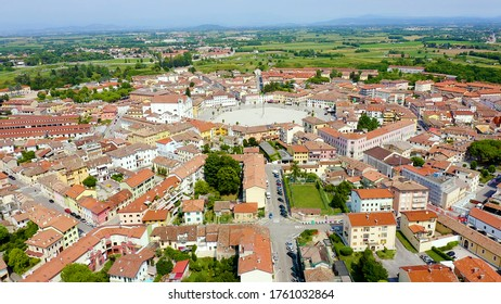 Palmanova, Udine, Italy. An exemplary fortification project of its time was laid down in 1593, Aerial View