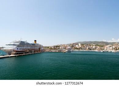 Palma/Spain - September 10 2014: The cruise ship Costa Favolosa in the port of Palma de Mallorca. Costa Favolosa is a cruise ship ordered for Costa Crociere in October 2007.