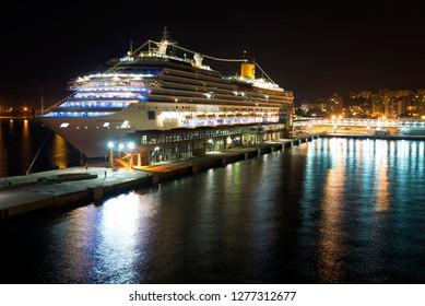 Palma/Spain - September 10 2014: The cruise ship Costa Favolosa in the port of Palma de Mallorca at night. Costa Favolosa is a cruise ship ordered for Costa Crociere in October 2007.