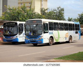 Palmas/Tocantins/Brazil - March 15, 2017: Buses of urban public transport system in the city of Palmas