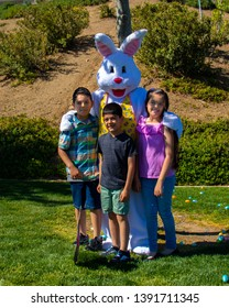 Palmdale, Ca/United States - 04/20/2019: Anaverde annual Easter Egg Hunt at Anaverde Park Easter bunny phot opportunity.