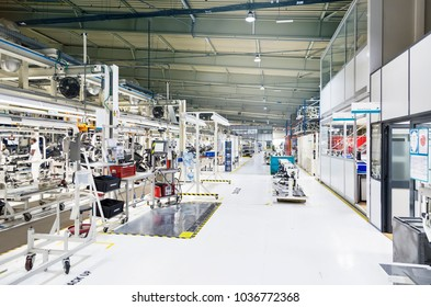 Palmela, Portugal - May 25 2017: SAS Automotive plant, production of cockpits on assembly line for Volkswagen