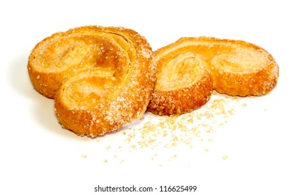 Palmier sweet puff pastry isolated on white