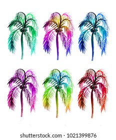 Palms illustration. Bright, vivid colors watercolor drawing on a white background