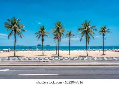 Palmen am Strand von Ipanema mit blauem Himmel, Rio de Janeiro, Brasilien.