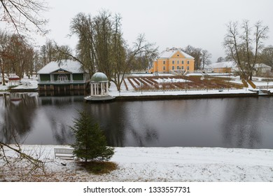 Palmse, Estonia. Beautiful snowy mood in Estonian countryside.