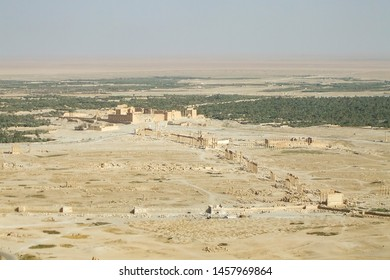 Palmyra, Homs Governorate, Syria. July 31st 2010. High viewpoint of the ancient city before the war in the middle of the Syrian desert.
