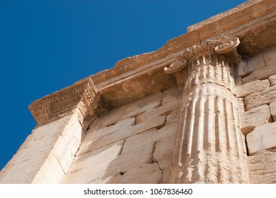 Palmyra / Syria - April 6, 2009 : Architecture of Temple of Bel one of the most important ruins of Palmyra dating to 2nd century AD. It had been destroyed because of the Syrian Civil War