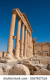 Palmyra / Syria - April 6, 2009 : The architectures of Temple of Bel one of the most important ruins of Palmyra dating to 2nd century AD. It had been destroyed because of the Syrian Civil War