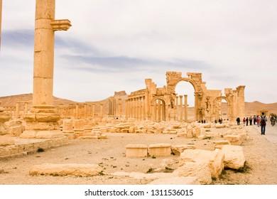 Palmyra, Syria - March 18, 2011: Temple of bel in Palmyra, Syria