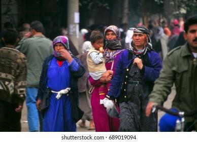 PALMYRA, SYRIA -  NOV 4, 1996 - Bedouin women in vegetable market in Palmyra, Syria, Middle East