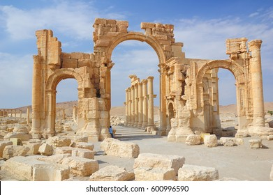 PALMYRA, SYRIA - OCTOBER 14: Ancient ruins of the Palmyra city at present destroyed in the Syrian war. View on the Arch in Palmyra in October 14, 2006