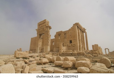 Palmyra. Temple of Bel during a sandstorm, which was destroyed