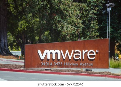 Palo Alto, CA - Aug. 20, 2017: VMWare Inc. in Palo Alto. VMware provides cloud computing and platform virtualization software and services. It is a subsidiary of Dell Technologies.