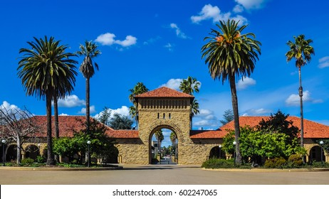 Palo Alto, CA - Feb. 25, 2017: Entrance to Stanford University campus from courtyard. Stanford University is one of the world's leading teaching and research universities.