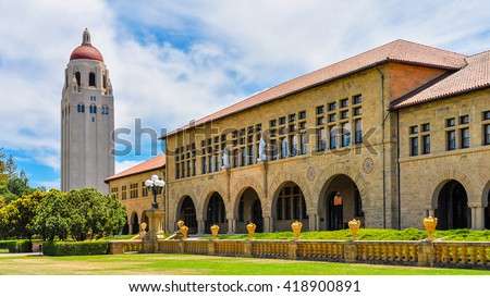 Palo Alto, CA - Jun-28-2015: Stanford University Hoover Tower. Completed in 1941, the 50th year of Stanford University's anniversary, the tower was inspired by the cathedral tower in Salamanca, Spain.