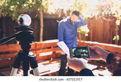 PALO ALTO, CA - JUNE 4: 360 degree video camera Samsung Gear 360 paired with a Galaxy smartphone on set to shoot a short film at Garage Stories VR Hackathon in Silicon Valley on June 4, 2017.