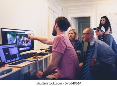 PALO ALTO, CA - JUNE 4: Dillon Morris and Jayson Tang reviewing footage from Nokia OZO on an Apple MacBook Pro shooting a short film at Garage Stories VR Hackathon in Silicon Valley on June 4, 2017.