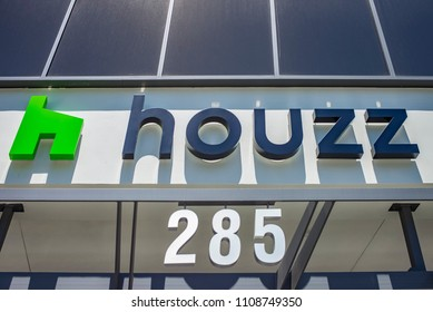 PALO ALTO, CA - MAY 27, 2018:  Houzz logo on corporate headquarters campus sign on University Street in Palo Alto, Silicon Valley. Houzz is a ecommerce website.