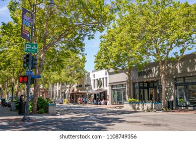 PALO ALTO, CA - MAY 27, 2018: University Street in downtown Palo Alto, California, USA.  Morning sunshine.