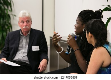 PALO ALTO, CA - Nov 7 2018: Daisy Ozim Director Blockchain for Social Justice collective participates in panel discussion of use of Blockchain for social good at a FinTech Silicon Valley